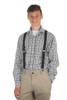 1 Inch Wide Clip Suspenders (X-Back) - BLACK