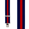 Navy/Red Striped Clip Suspenders - 2 Inch Wide