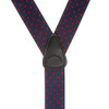 Polka Dot Suspenders - Red on Navy 1.5 Inch Wide Button