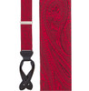 Red Paisley Silk Suspenders - Button