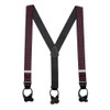 Pink Polka Dots on Black Suspenders - 1.5 Inch Wide Button