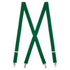 1 Inch Wide Clip Suspenders (X-Back) - KELLY GREEN