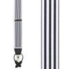 White/Navy Equal Stripes Barathea Suspenders