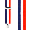 Red/White/Blue Striped Clip Suspenders - 1.5 Inch Wide