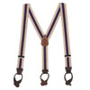 Khaki/Navy Striped Button Suspenders - 1.5 Inch Wide