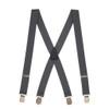 1.5 Inch Wide Pin Clip Suspenders - DARK GREY