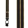 Black & Gold Striped Grosgrain Suspenders - BUTTON