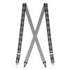 Grey Plaid Suspenders - 1 Inch Wide Clip