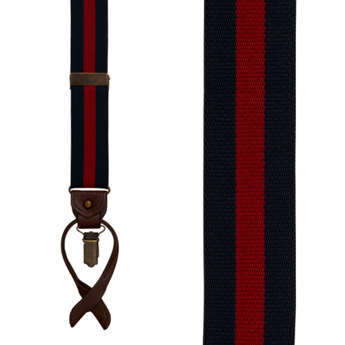Tommy Hilfiger Navy & Red Striped Convertible Suspenders