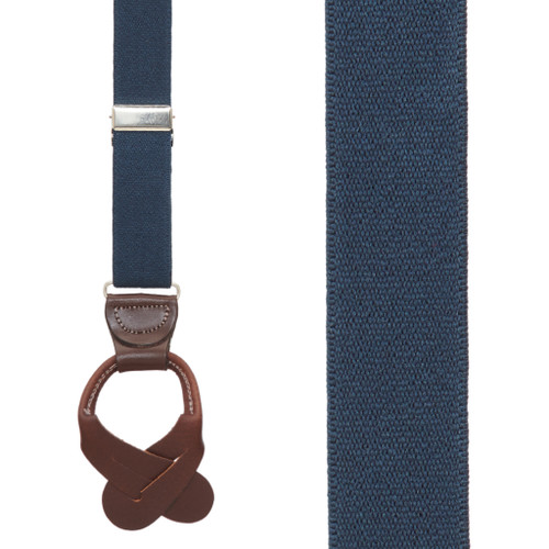 1.25 Inch Wide Button Suspenders - NAVY BLUE (Brown Leather)