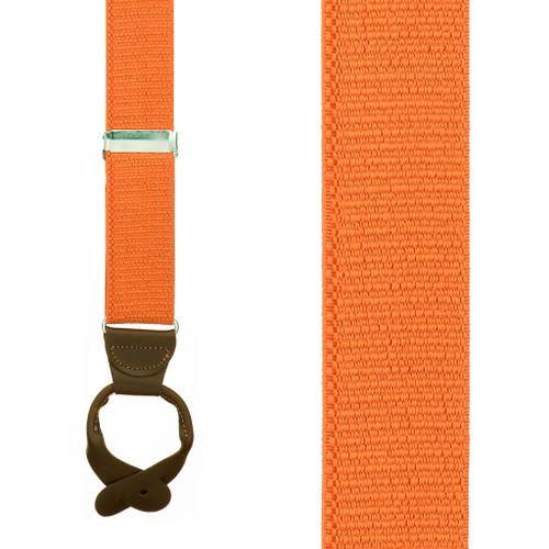 1.5 Inch Wide Button Suspenders - ORANGE