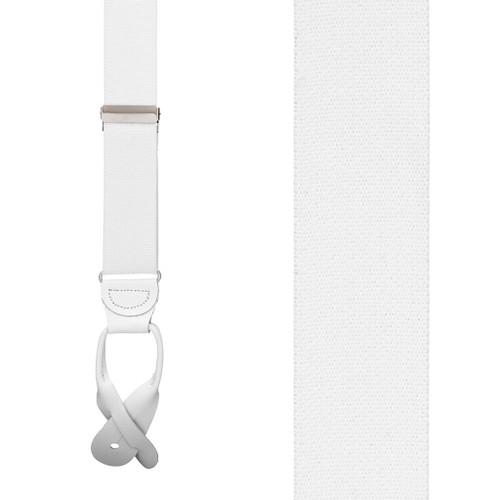 1.5 Inch Wide Button Suspenders - WHITE