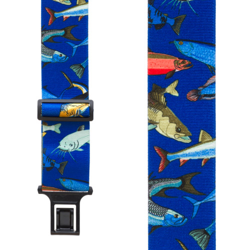 Mixed Fish on Blue Suspenders - Belt Clip