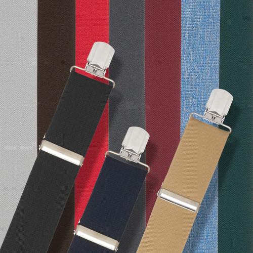 2 Inch Wide Solid Pin Clip Suspenders