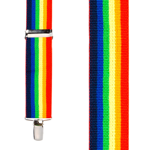 Rainbow Striped Clip Suspenders - 1.5 Inch Wide, Clip