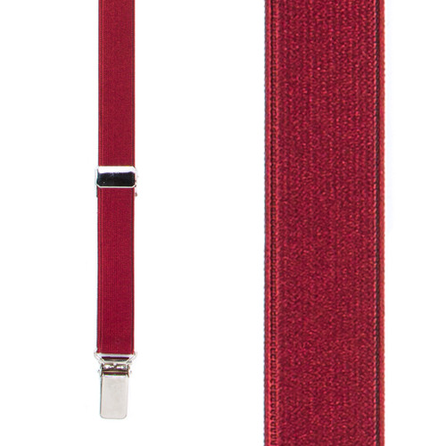 3/4 Inch Wide Thin Suspenders - BURGUNDY (Satin)