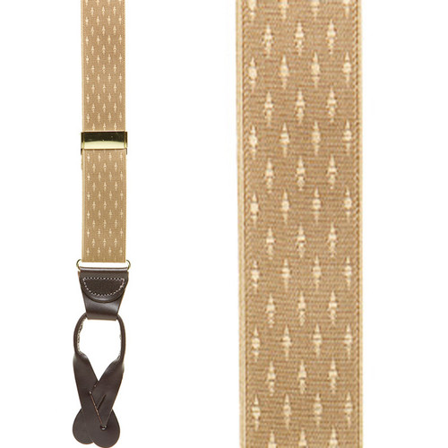 Tan Jacquard Suspenders - Petite Diamonds Button