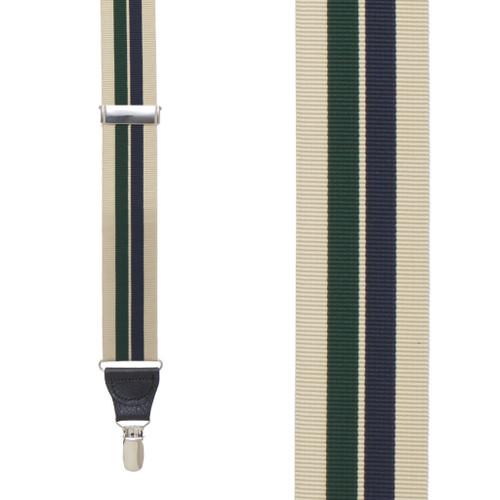 Khaki/Hunter/Navy Grosgrain Striped CLIP Suspenders