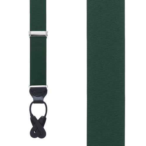 Hunter Green Grosgrain BUTTON Suspenders