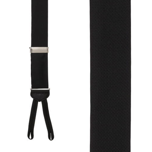 Jacquard Silk BLACK Basket Weave Suspenders - Runner End