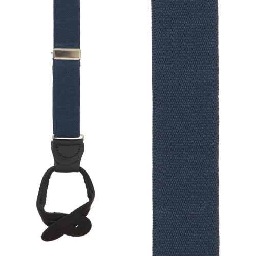 1 Inch Wide Button Suspenders - NAVY BLUE (Black Leather)