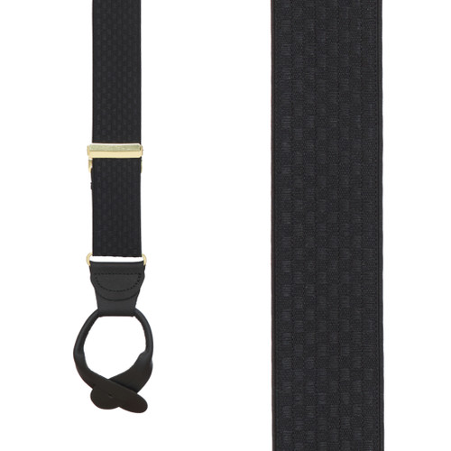 Black Jacquard Checkered Suspenders - Button
