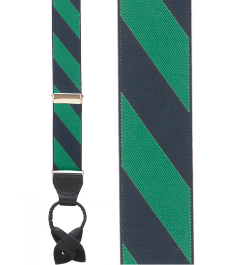 Navy/Green Striped Suspenders Sale
