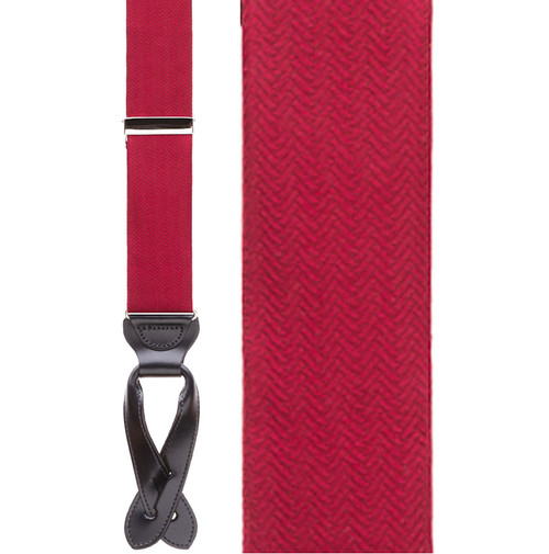 Red Herringbone Silk Suspenders - Button