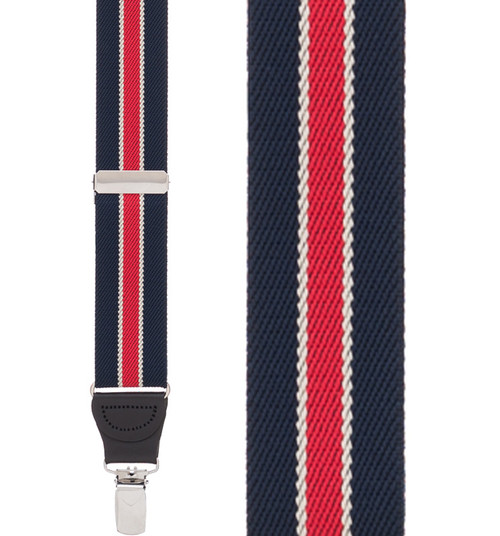 Navy/Red Striped Y-Back Clip - 1.25 Inch Wide