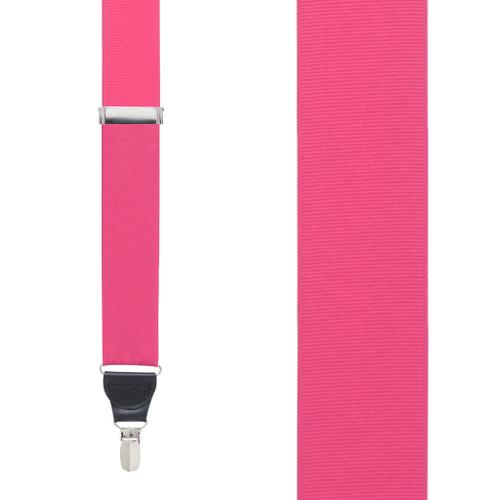 Dark Pink Grosgrain CLIP Suspenders