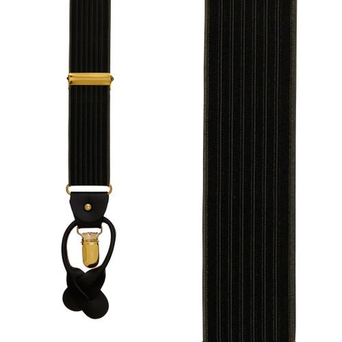 BLACK Geoffrey Beene Vertical Stripe Suspenders - Convertible