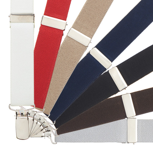 1 Inch Wide Clip Suspenders - Solid Colors (Y-Back)
