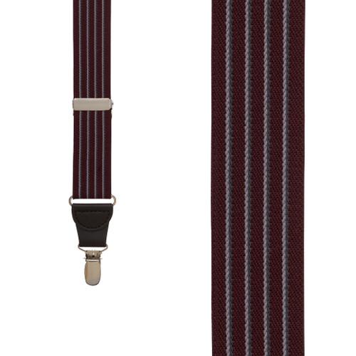 BURGUNDY Pinstripe Elastic Suspenders - Clip