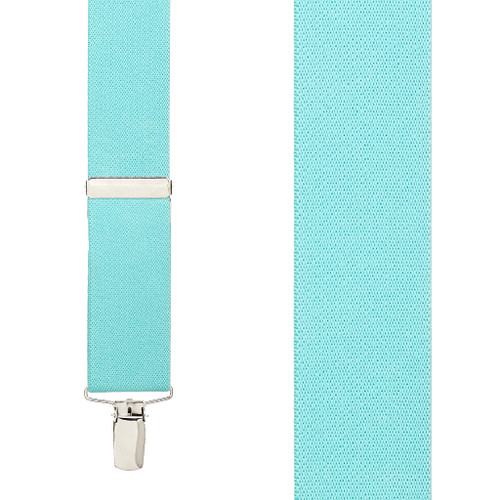 1.5 Inch Wide Clip Suspenders - TIFFANY BLUE
