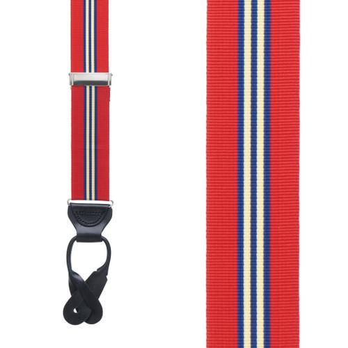 Red Thin Stripe Grosgrain BUTTON Suspenders