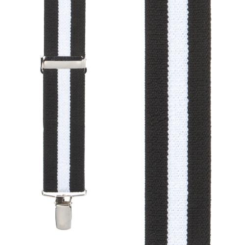Black/White Striped Clip Suspenders - 1.5 Inch Wide