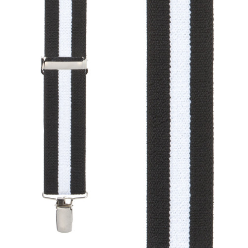 Black/White Striped Clip Suspenders - 1.5 Inch Wide