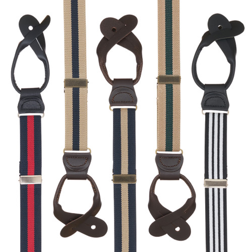 1 Inch Wide Striped Button Suspenders