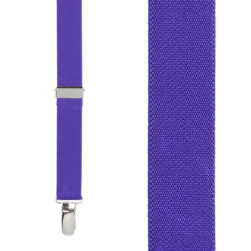 1 Inch Wide Clip Suspenders (X-Back) - PURPLE