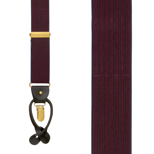 BURGUNDY Geoffrey Beene Vertical Stripe Suspenders - Convertible