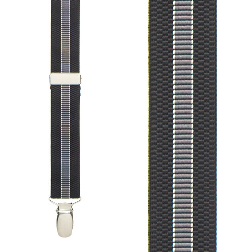 BLACK/GREY Striped Suspenders - 1 Inch Wide