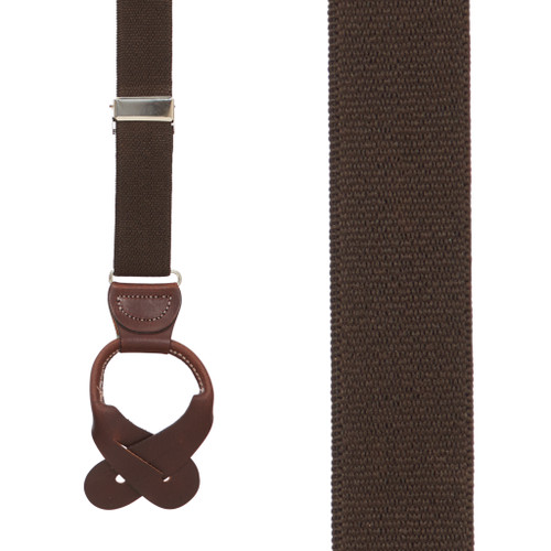 1 Inch Wide Button Suspenders - BROWN