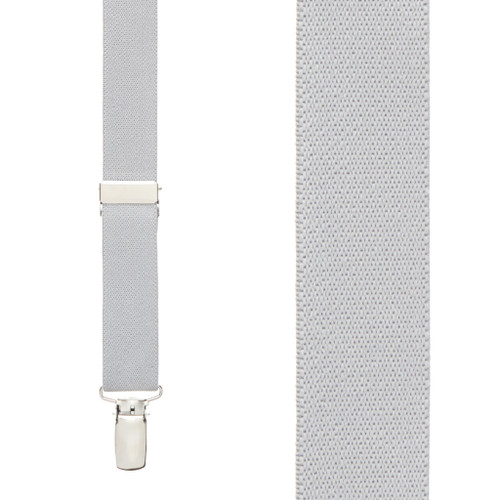 1 Inch Wide Clip Suspenders (X-Back) - LIGHT GREY