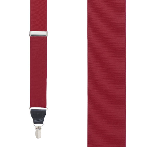 Dark Red Grosgrain CLIP Suspenders