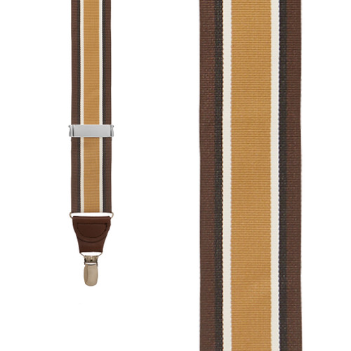 Brown Stripe Grosgrain CLIP Suspenders