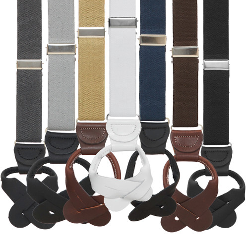 1 Inch Wide Button Suspenders - Solid Colors
