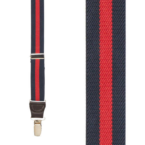 NAVY/RED Striped Y-Back Brown Leather/Clip Suspenders - 1 Inch Wide