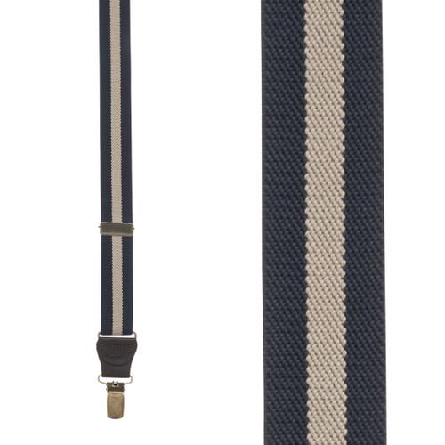 NAVY/TAN Striped Y-Back Clip Suspenders - 1 Inch Wide