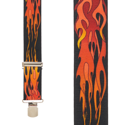 ORANGE FLAMES 2-Inch Wide Pin Clip Suspenders