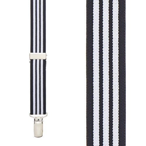 Black & White Striped Suspenders - 1 Inch Y-Back